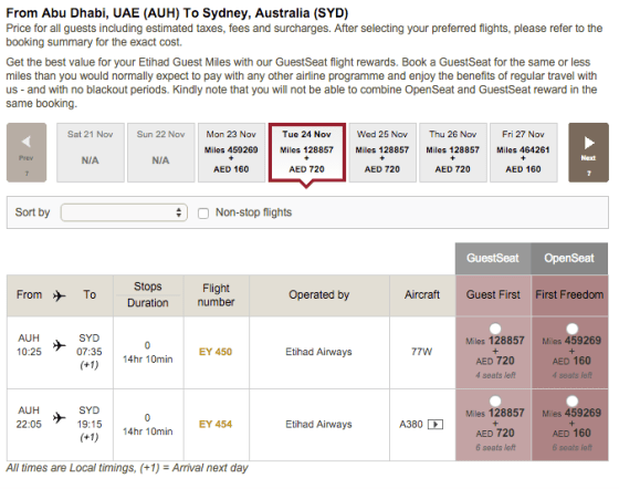 Etihad last minute award availability WIDE OPEN