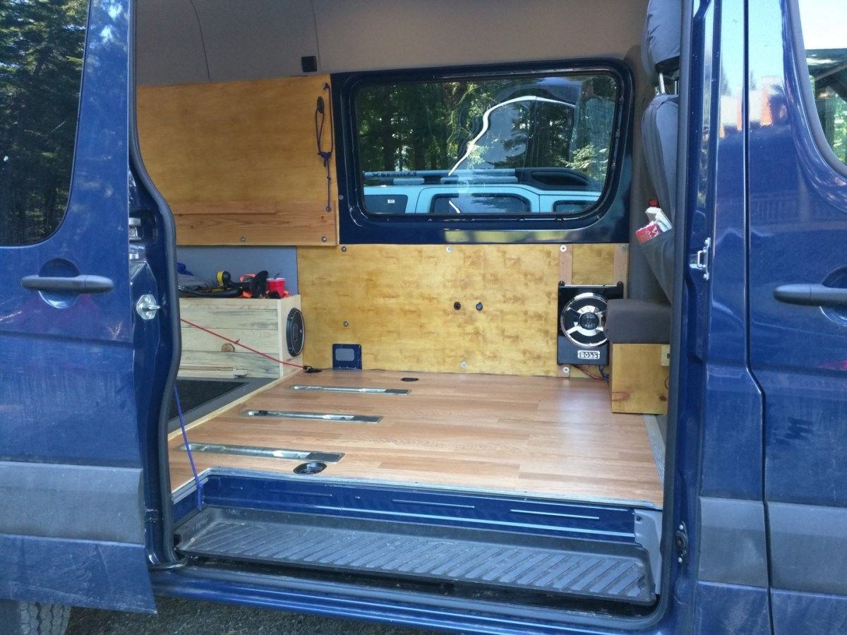 Sprinter Adventure Van Build – Laminate Flooring