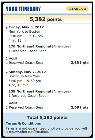 Amtrak NYC-Boston 30,000 Amtrak points