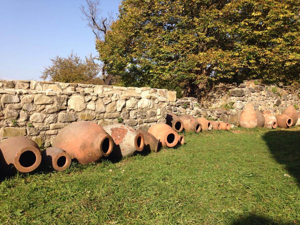 WIne is aged in qvevri (clay vessels) in the ground rather than in barrels, and every family makes their own wine.