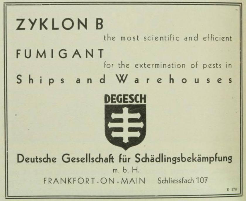Degesch fumigant for pests 1929