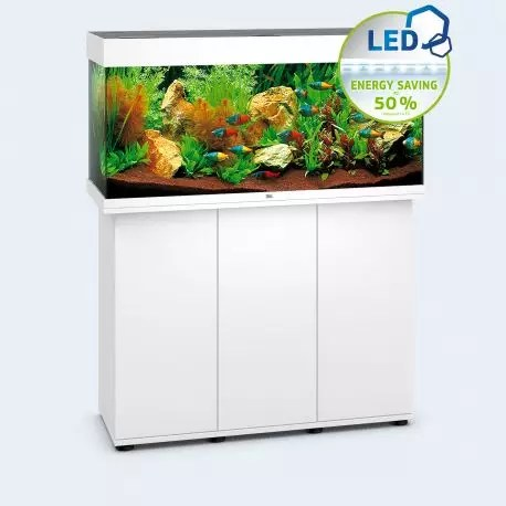 juwel aquarium rio 180 led 2x23w blanc avec meuble avec portes