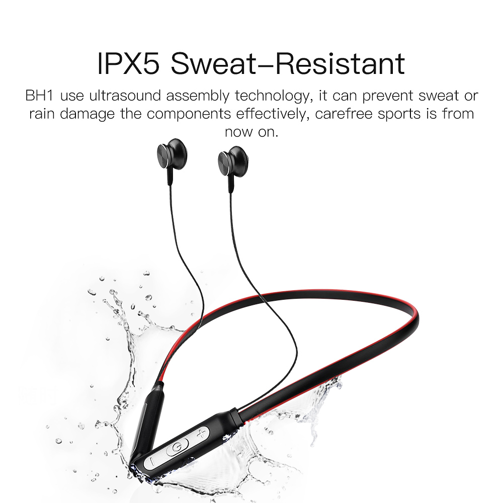 Фото QCY BH1 Bluetooth Headphones with Mic Wireless Lightweight Neckband Earphone IPX5 Waterproof Sports Headset