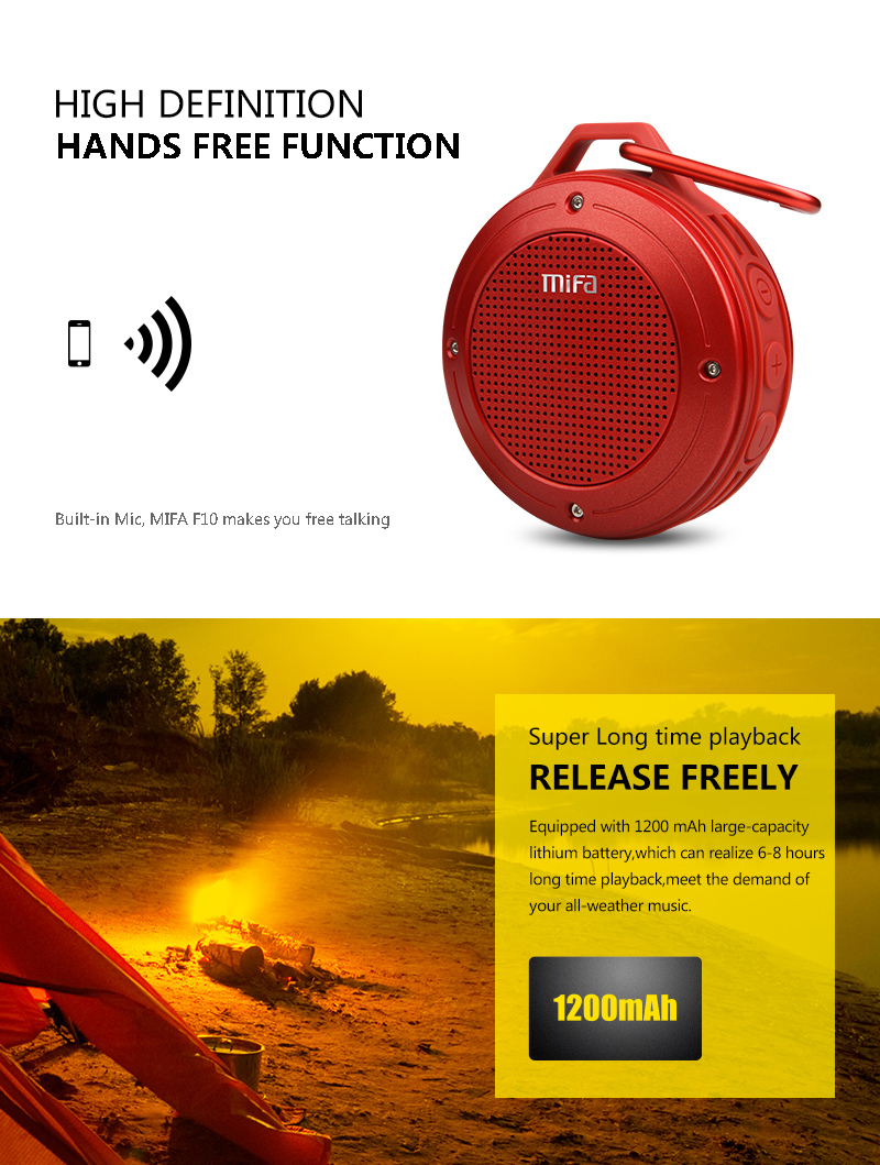 Фото MIFA F10 Outdoor Wireless Bluetooth 4.0 Stereo Portable Speaker Built-in mic Shock Resistance IPX6 Waterproof Speaker with Bass