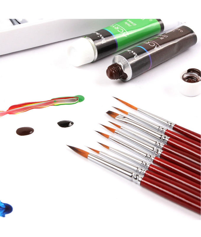 Фото Кисти для рисования Dainayw Fine Detail Nylon Paint Brush Set 9 Pieces Miniature Brushes Pen refill for Acrylic Art painting Watercolor Nail