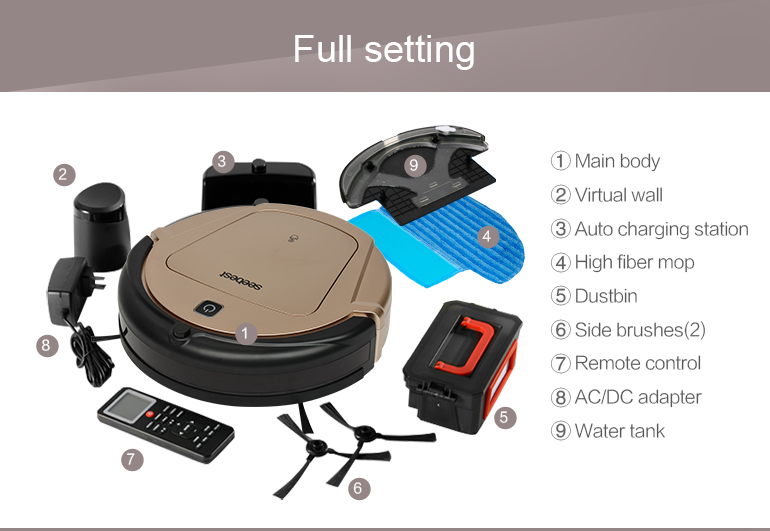 Фото Seebest Turing 1.0 Gyroscope Navigation Planned Clean Route Robot Vacuum Cleaner with Time Schedule and Wet Mopping D750