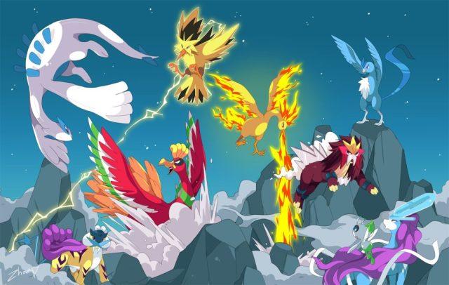 Legendary Pokémon Moltres, Entei and Ho-Oh