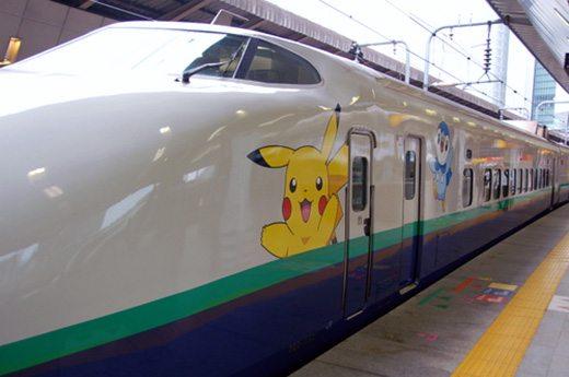 Questo è uno Shinkansen raffigurante Pikachu e Piplup.