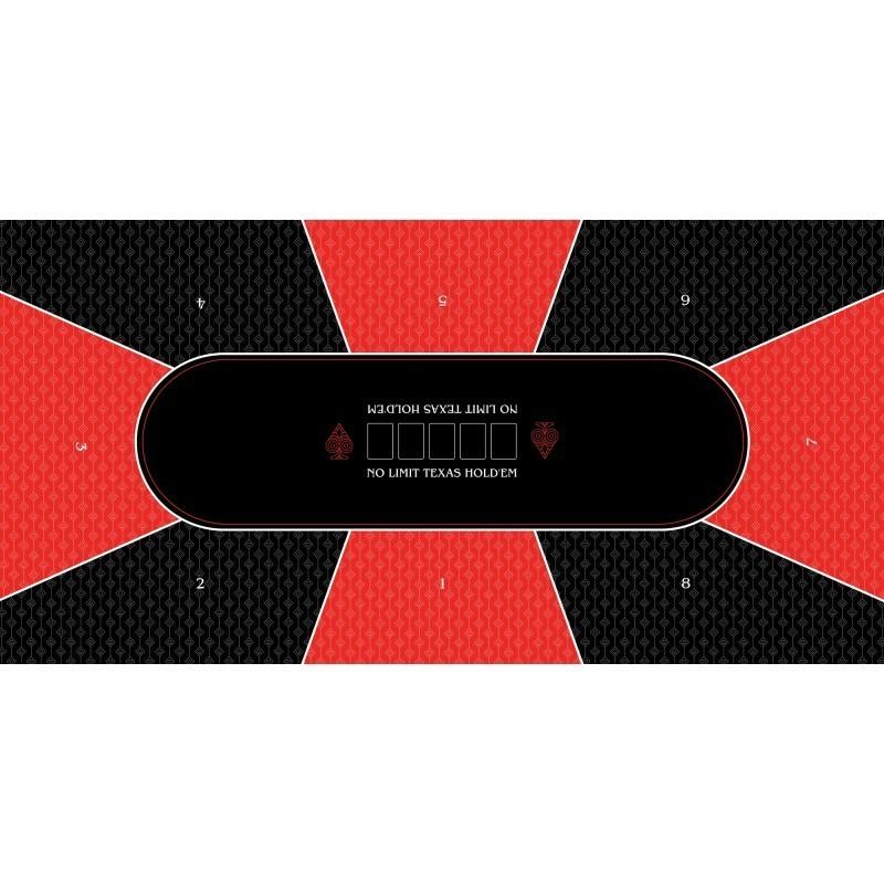 tapis de poker antiderapant rectangulaire no limit rouge