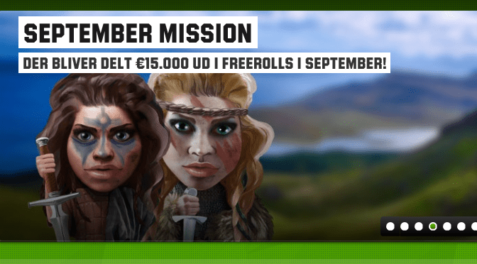 September mission – EUR15.000 i poker freerolls!