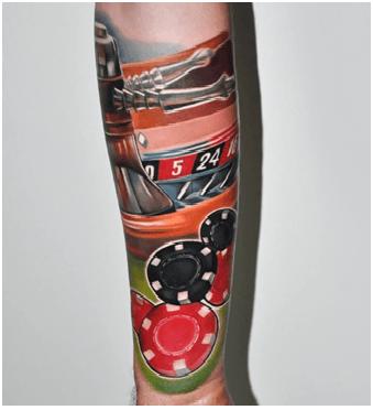 Coloured Roulette Tattoo