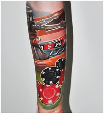 Coloured Roulette Tattoo