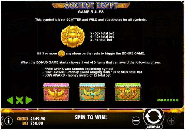 Ancient Egypt- Free Spins and Expanding wilds
