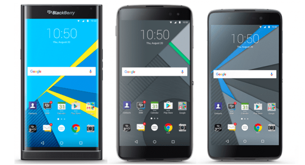 Black Berry Priv; DTEK50 and DTEK60 phones