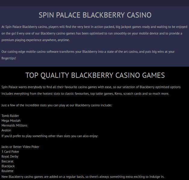 Spin Palace casino- Blackberry