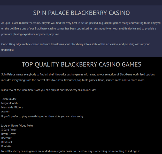 Spin Palace casino- Blackberry