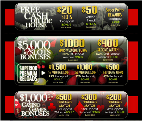 Superior casino- Bonuses