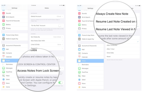 iPad pro notes feature in iOS 11- customize