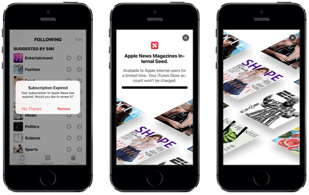 Apple news subscriptions