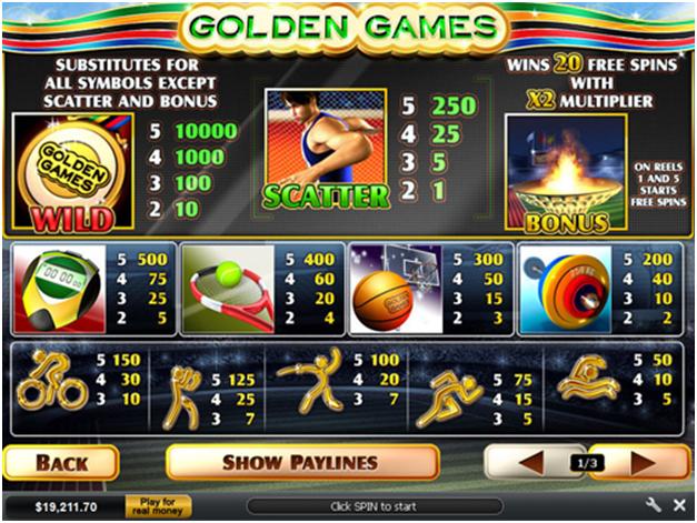 golden games pokies - Paytable