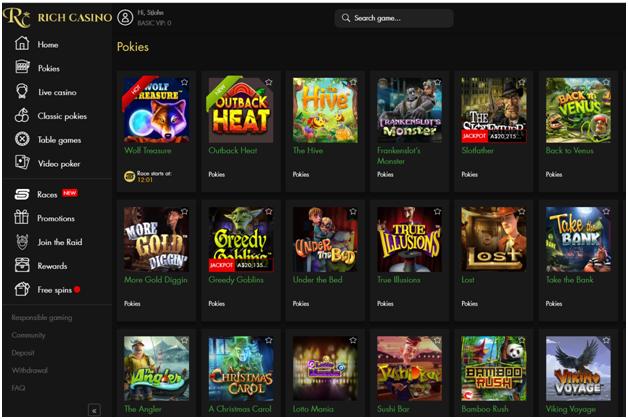 Rich casino games lobby