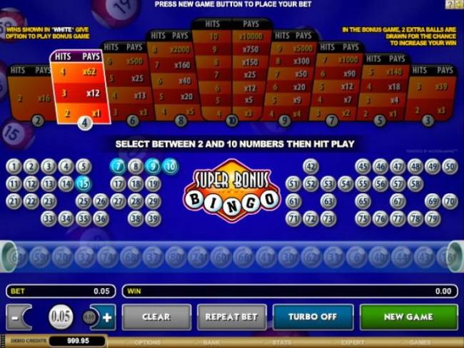 Bonus feature in Super Bonus Bingo