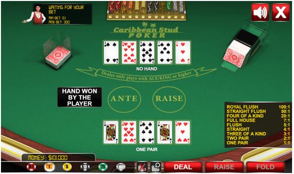 Caribbean stud poker on mobile