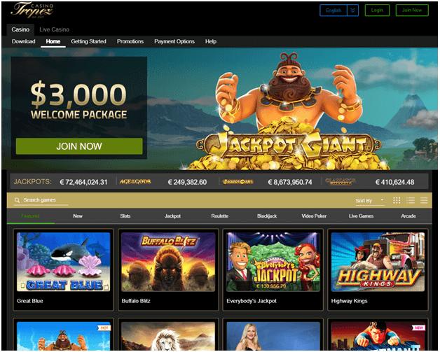 Casino Tropez homepage