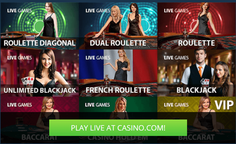 Play Blackjack live at Casino.com live casino