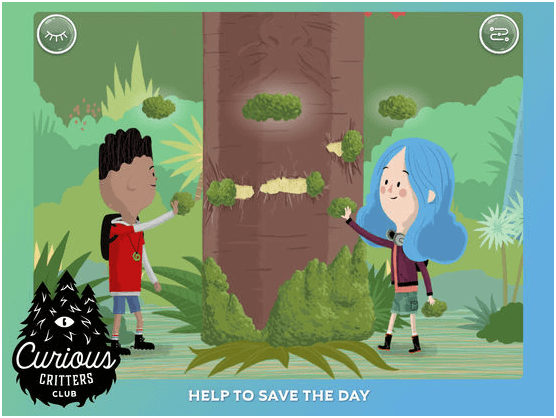 Stories in the app - Curious Critters Club App