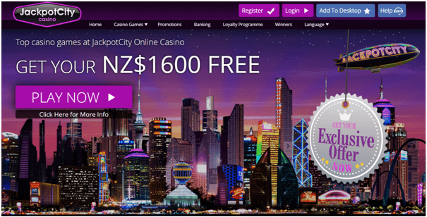 Jackpot City Casino $NZ 1600 Free Bonus playing online and mobile pokies
