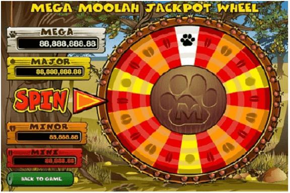 Mega Moolah pokies game jackpot wheel