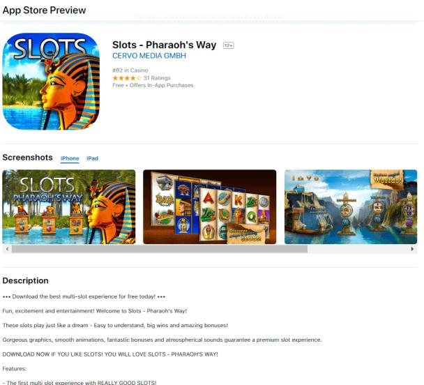 Pokies game app iPad