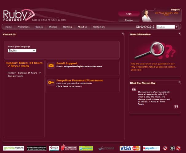 Ruby Fortune casino NZD- Customer support
