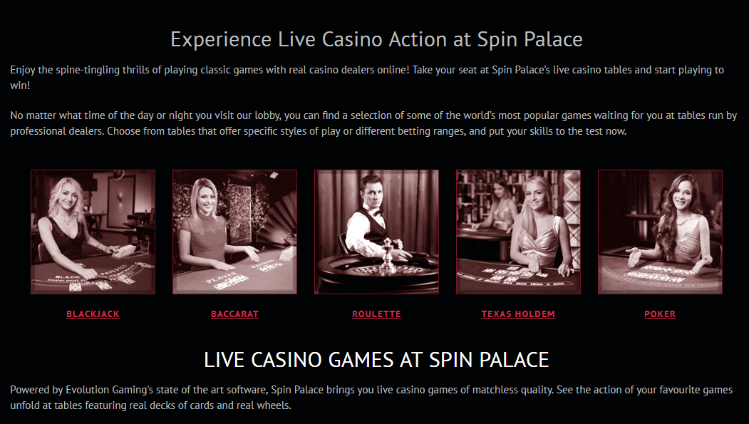 Spin Palace live casino to play