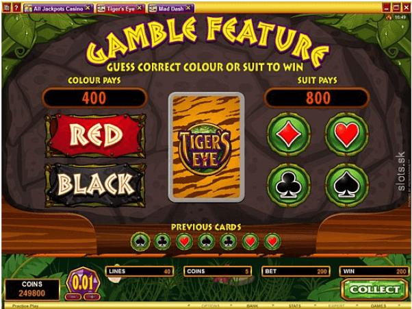 Tiger's eye gambling feature
