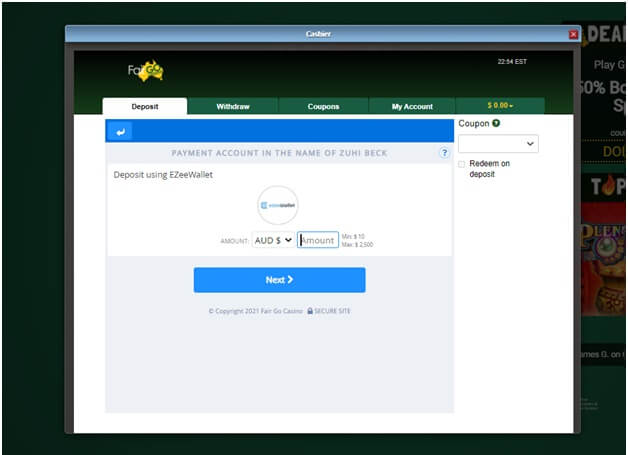 Ezee wallet fair go deposits page