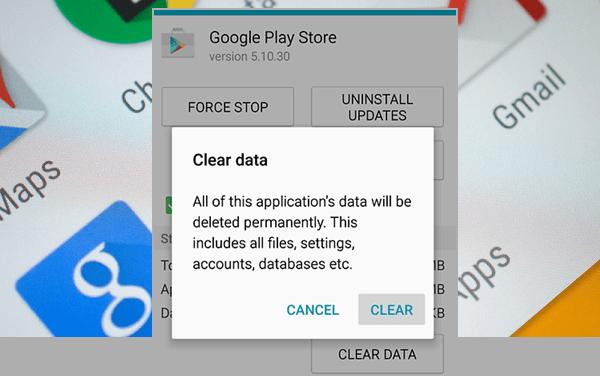 Google Play- Clear Data