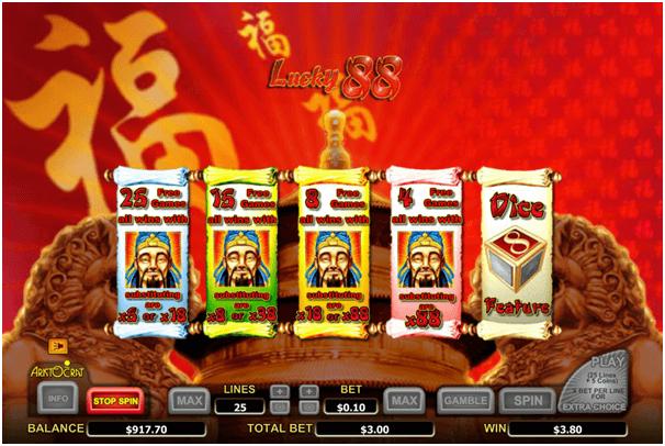 Lucky 88 pokies game