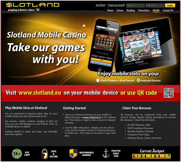 Slotland casino iPad