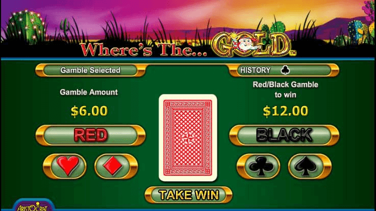 Gamble feature in Where's the gold pokies