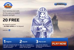 20 free spins Avalon Pokies at All Slots