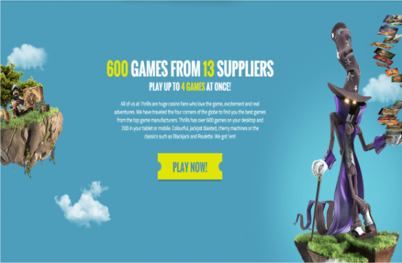 Thrills Casino - Over 600 Games for 13 Companies