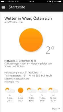 Wettervorhersage für die aktuelle Region