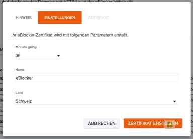 eBlocker Zertifikat erstellen