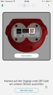 QR Code auf der Unterseite scannen und App mit dem Sparkässeli verbinden