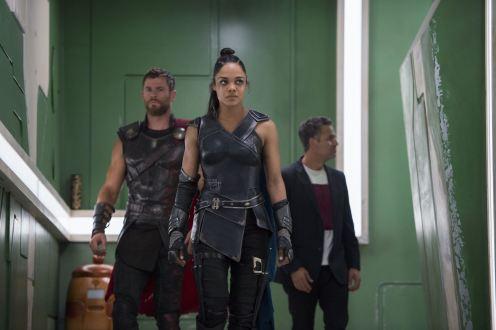 Thor - Chris Hemsworth, Valkyrie - Tessa Thompson, Bruce - Mark Ruffalo