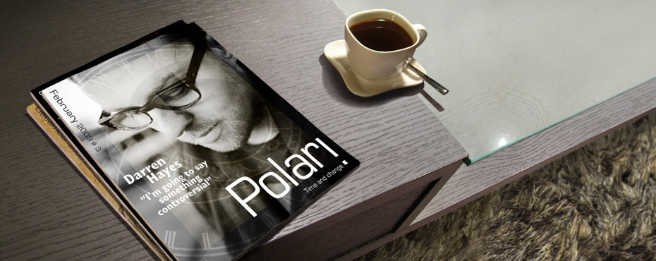 Polari Magazine, LGBT arts and culture magazine, with Darren Hayes, on a coffee table