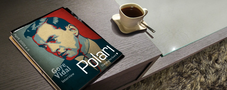 Polari Magazine, LGBT arts and culture magazine, with Gore Vidal, on a coffee table