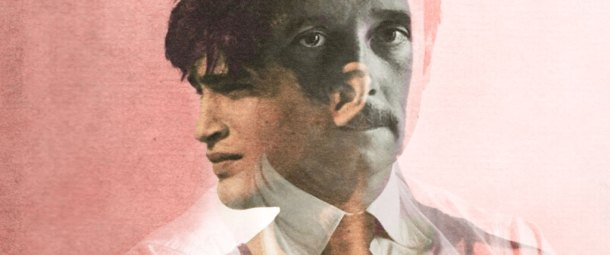 A photograph of the author Edmund White double exposed with an image of the cover art from his book A Boy